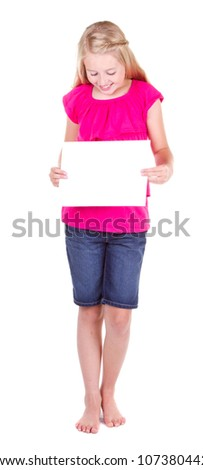 Girl holding a blank white paper, looking down, isolated on white - stock photo