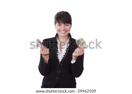 Girl holding a money and smiling. Isolated over white background.