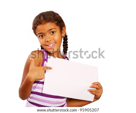 girl holding a paper in her hands - stock photo