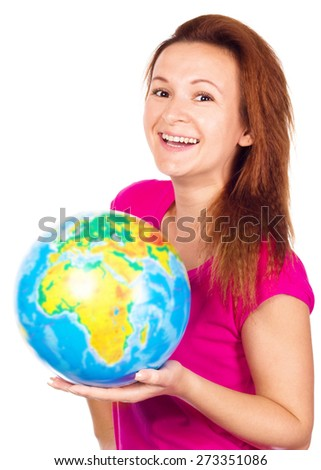 girl holding a world globe isolated on a white background - stock photo