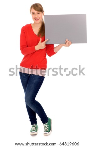 Girl holding banner add - stock photo