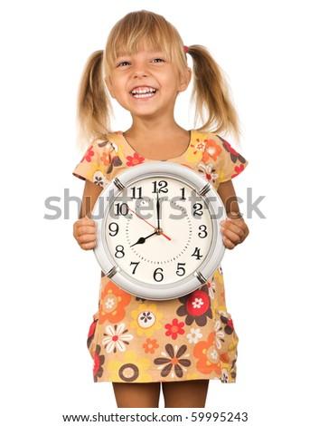 Girl holding big clock isolated on white background - stock photo