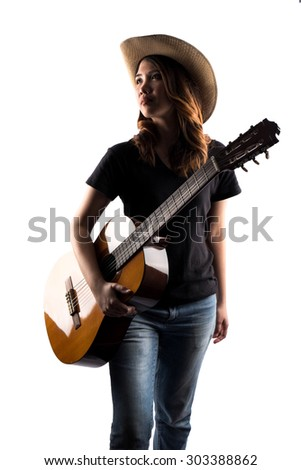 girl holding classic guitar isolate on white