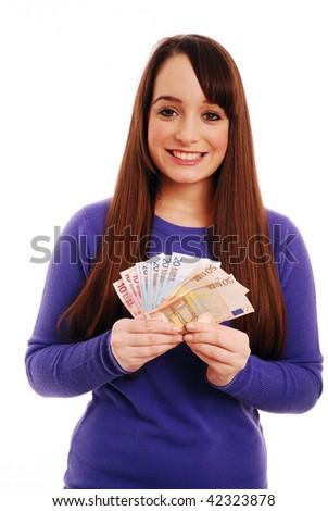 Girl holding euros - stock photo