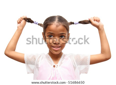 girl holding her braids
