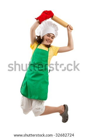 Girl holding kitchenware jumping isolated on white background - stock photo