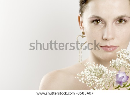 girl holding spring flowers