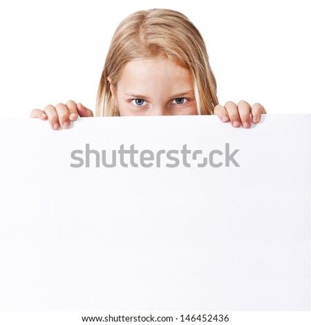 girl holding the sign with blank space