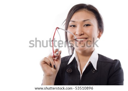 girl holds points and bites them - stock photo