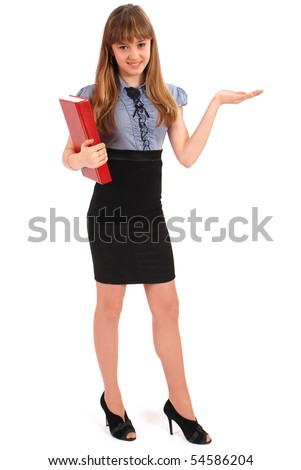 Girl holds the red book. Also specifies hand a direction. On white background