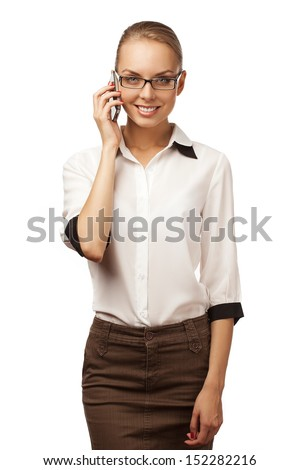 girl in a business suit talking on the phone