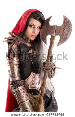 Girl in a dark Red riding hood costume isolated in white