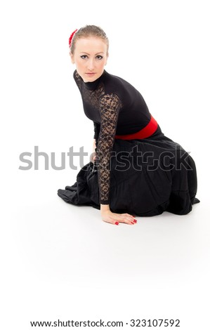 girl in a dress isolated Carmen - stock photo