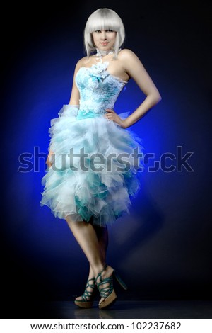 girl in a gorgeous evening gown - stock photo
