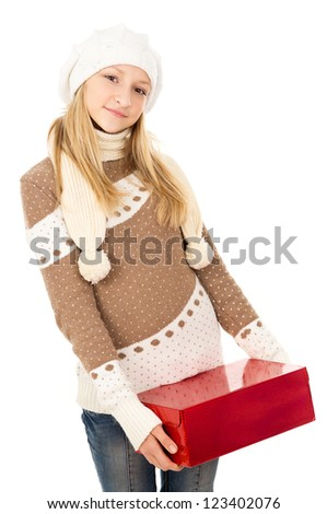 girl in a hat holding a gift box isolated - stock photo