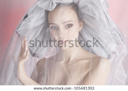 girl in a hat with a veil - stock photo