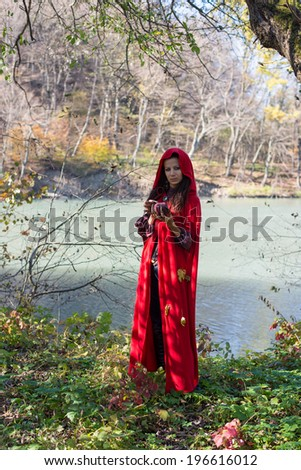Girl in a red cloak in the lap of nature - stock photo