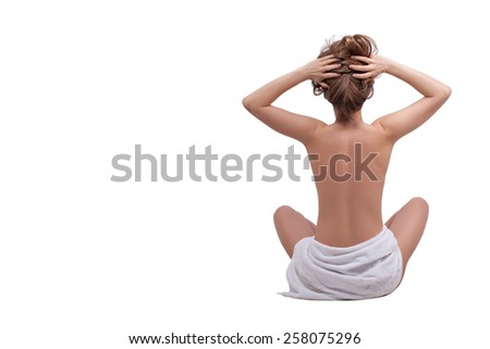 girl in a towel back - stock photo