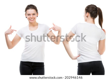 Girl in a white T-shirt isolated on white background, front and back - stock photo