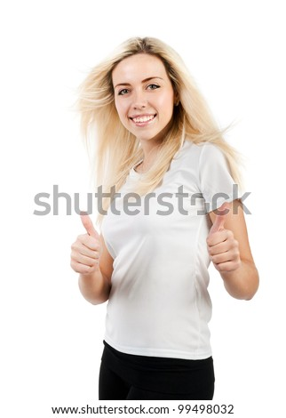 girl in a white T-shirt with flowing hair shows two thumbs on a white background - stock photo