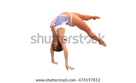 Girl in American costume doing gymnastics, gymnast performing  back walkover on white background, 3D illustration