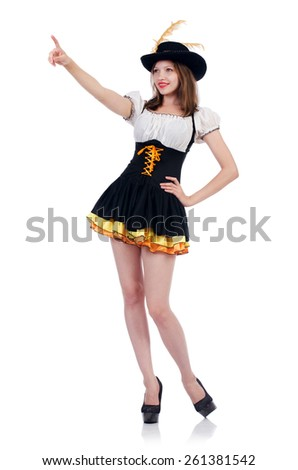 Girl in bavarian costume isolated on white - stock photo