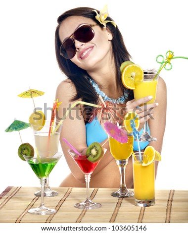 Girl in bikini on beach drinking cocktail. Isolated.