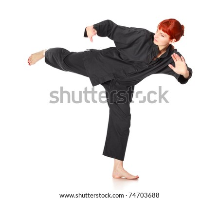 girl in black kimono exercise, isolated on white