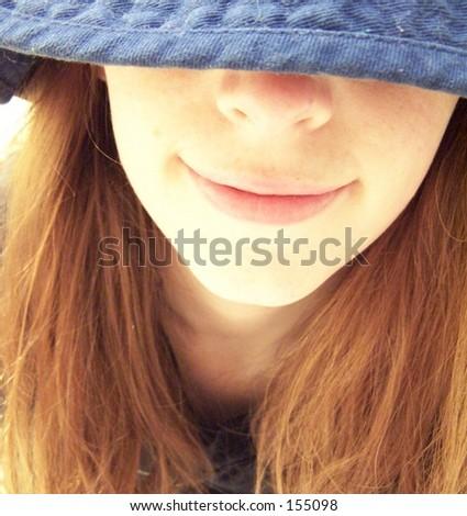 girl in blue hat - stock photo