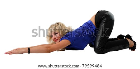 Girl in blue shirt and black pants on the floor on the white background