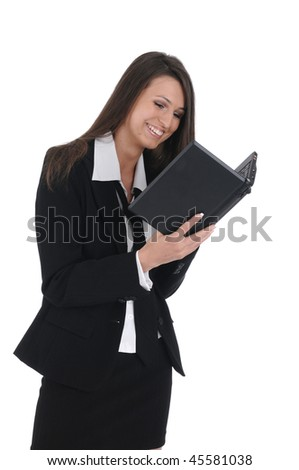 girl in business suit with net-book
