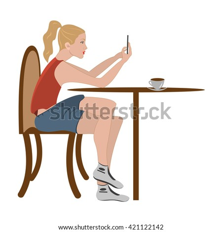 Girl in cafe, chat on smartphone. Teenage girl using mobile phone. People, education, technology and colleg concept - happy student with smartphone in cafeteria. Young woman on  white background.  - stock photo