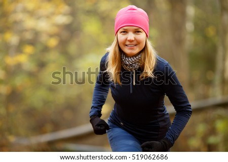 Girl in cap ready run