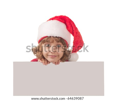 Girl in christmas hat with empty blank
