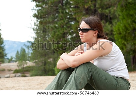 Girl In Deep Thought - stock photo