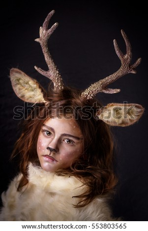 girl in deer costume with beautiful horns and ears a white woolen breast  sc 1 st  Shutterstock : deer costume ears  - Germanpascual.Com