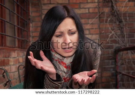 Girl in depression and frustration - stock photo