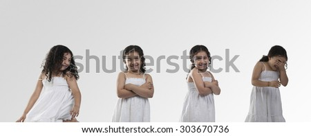 Girl in different gestures - stock photo