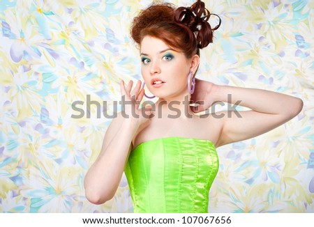 Girl in fairy costume surprised, , colorful background - stock photo