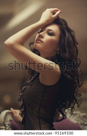 girl in feelings.noise added - stock photo