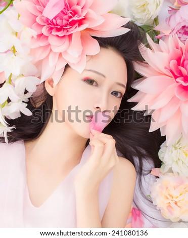Girl in flower spa kiss  - stock photo