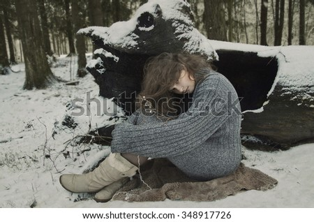 girl in forest, winter's tale, winter in the woods