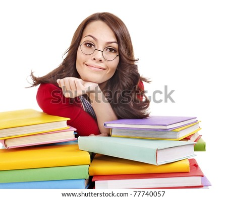 Girl in glasses with stack book . Isolated.