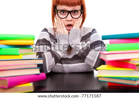 girl in glasses worry because stack  of books, face expression, isolated