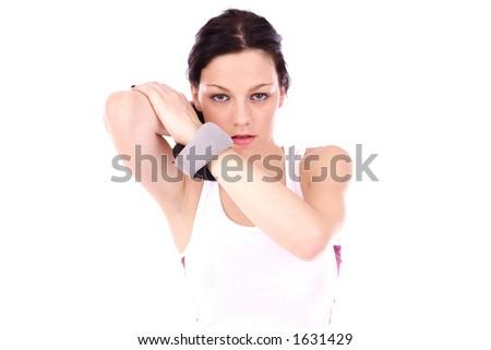 girl in gym having training - stock photo