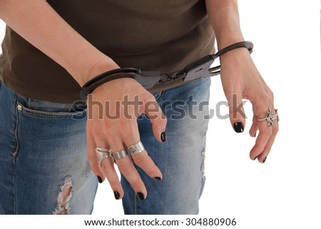 girl in handcuffs under the white background