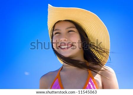 Girl in hat - stock photo