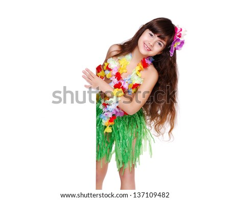girl in Hawaiian dress holding the blank closeup portrait - stock photo