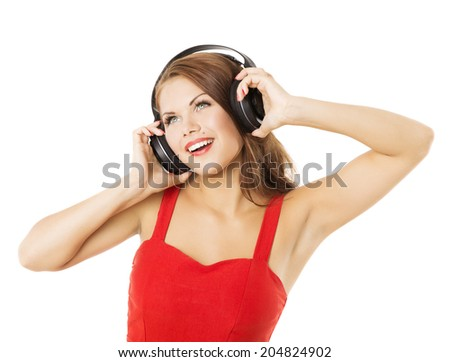 Girl in headphones listening to music. Woman portrait over white background  - stock photo