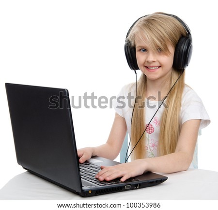 girl in headphones with a laptop. isolated on white background